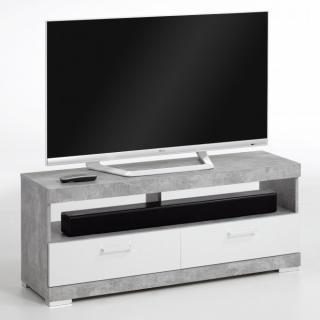 Meuble TV BEZIERS 3 coloris gris béton et blanc brillant 2 tiroirs