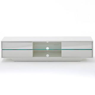 Meuble TV design BOSCO 4 tiroirs finition laqée blanc brillant éclairage led intégré