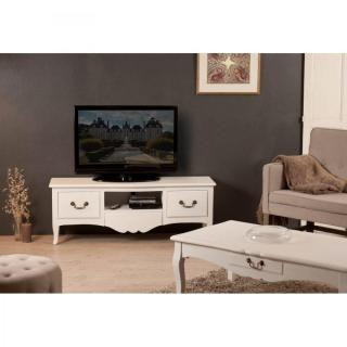 meubles tv meubles et rangements meuble tv blanc 3 tiroirs anna en fr ne style campagne inside75. Black Bedroom Furniture Sets. Home Design Ideas