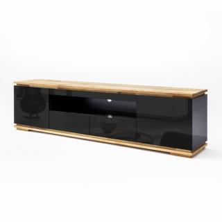 Meuble TV CHARLY noir brillant 2 tiroirs 2 portes 1 niche socle plateau chêne massif