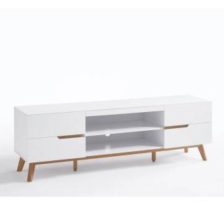 Meuble TV style scandinave CLEMENT  laqué blanc mat