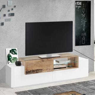 Meuble TV design CORO 160 cm finition blanc laqué brillant érable vintage