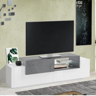 Meuble TV Bi-Color design CORO 160 cm laqué blanc brillant/bois gris ardoise