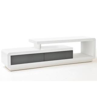 Meuble TV design CORTO 2 tiroirs finition laquée blanc et gris brillant