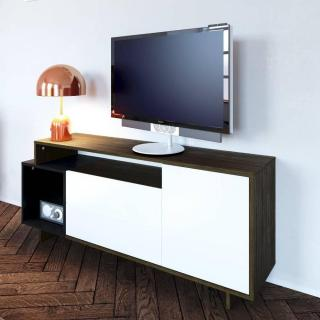 Meuble TV DAINN design scandinave 1 porte 2 abattants noyer et blanc mat