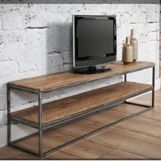Meuble TV au style industriel DAMON  en chêne vintage