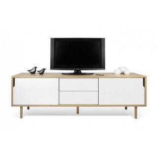 meuble TV DANN chêne avec 2 portes coulissantes et 2 tiroirs blanc
