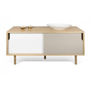 meuble TV DANN chêne avec 2 portes coulissantes gris taupe et blanc