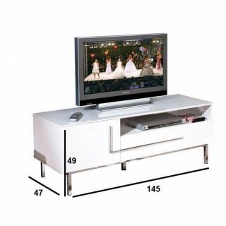 meubles tv meubles et rangements meuble tv design deltino blanc et pi tements en acier inside75. Black Bedroom Furniture Sets. Home Design Ideas