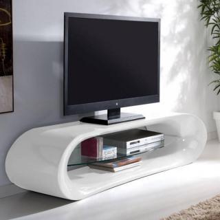 Meuble TV design KAÏNA en fibre de verre blanc brillant et une étagère en verre trempé