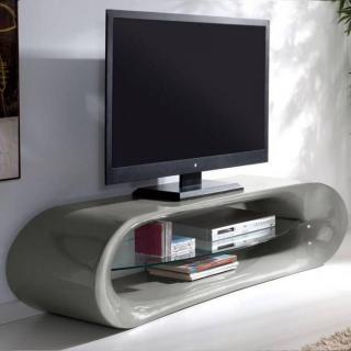 Meuble TV design KAÏNA en fibre de verre gris brillant et une étagère en verre trempé