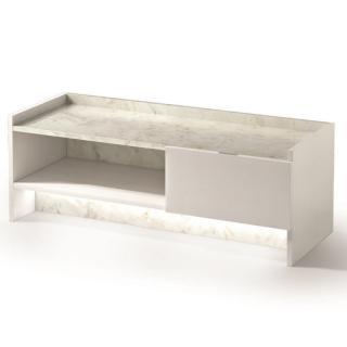 Meuble tv MARVEL design blanc plateau en marbre éclairage LED intégré