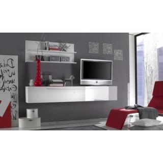 Meuble TV design PRIMERA LIGHT blanc brillant