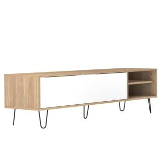 Meuble TV design scandinave LACKBERG 1 porte abattant chêne naturel