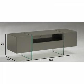 meubles tv meubles et rangements meuble tv design sigma 160 x 40 cm taupe avec pi tement en. Black Bedroom Furniture Sets. Home Design Ideas