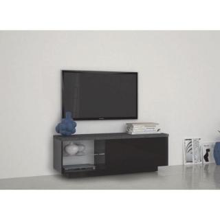 Meuble TV design TREVISO laqué noir plateau effet marbre
