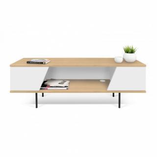 meuble TV DIXIE en bois de chêne et blanc
