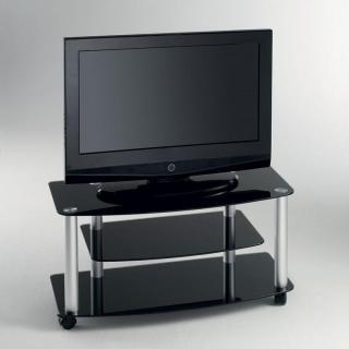Meuble TV EFFEL verre trempé noir