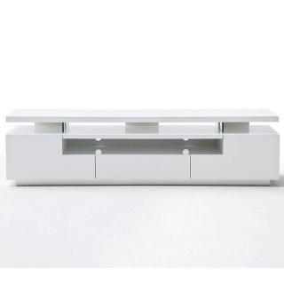 Meuble TV design ELIOS 3 tiroirs finition laquée blanc brillant éclairage led intégré