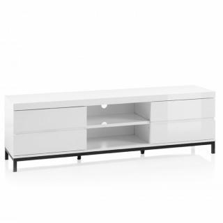 Meuble TV GRANVILLE blanc laque brillante 4 tiroirs 2 niches piétement métal noir