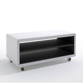 Meuble TV compact JERSEY PM laque blanc mat à roulettes intérieur noir