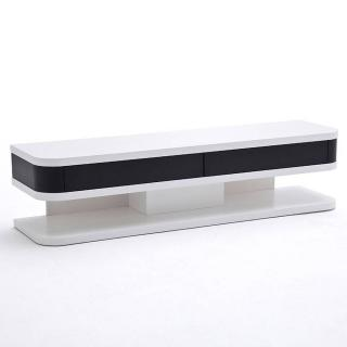 Meuble TV JUNIOR structure laquée blanc mat 2 tiroirs noir