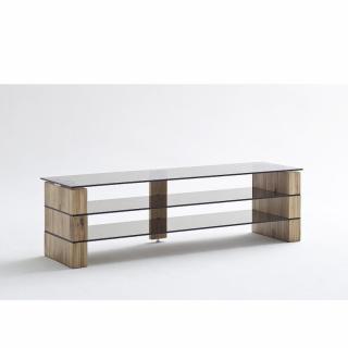 Meuble TV KONRAD largeur 140 cm chêne massif et verre bronze