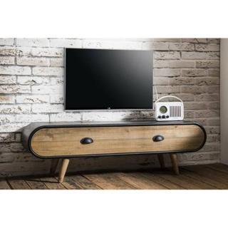 Meuble TV au style industriel KLAUS  en chêne vintage 1 tiroir