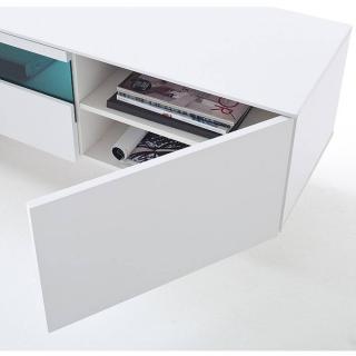 Meuble TV LEEDS laqué blanc mat  2 portes 1 tiroir LED inclus