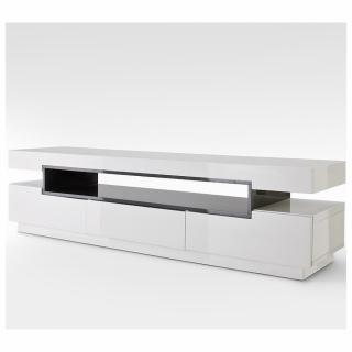 Meuble TV design LYRA 3 tiroirs et niches structure laquée blanc brillant et gris
