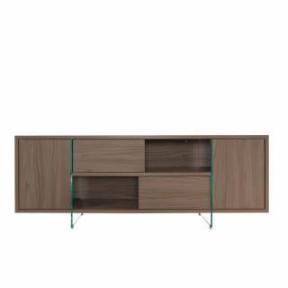 Buffet/Meuble TV design MADY 180cm Noyer portes coulissantes et piètement en verre