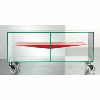 Meuble TV MALTA en verre étagère centrale rouge