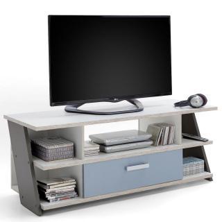 Meuble TV NANTES coloris chêne sable, gris lava, blanc et bleu denim 1 tiroir 1 plateau fixe