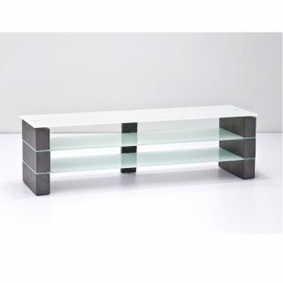 Meuble TV OCTON largeur 160 cm decor beton verre blanc