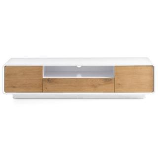 Meuble TV design scandinave TALLY 2 portes 1 tiroir laqué blanc mat et chêne massif