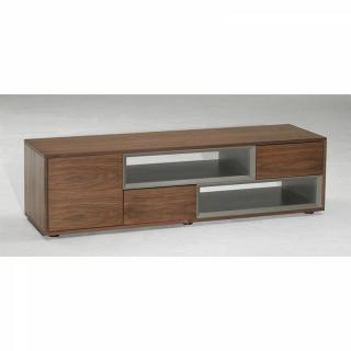 Meuble TV design SIGMA noyer & taupe avec  2 niches 2 tiroirs 1 porte