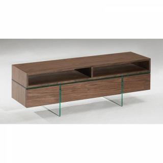 Meuble TV design SIGMA noyer avec piétement en verre 2 portes 1 tiroirs et 2 niches