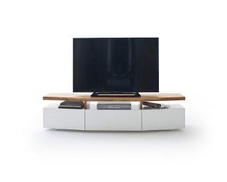 Meuble TV SIGMUND 180 cm laque blanc mat plateau chêne massif