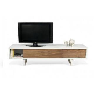 SLIDE meuble tv design blanc avec 2 portes coulissantes noyer