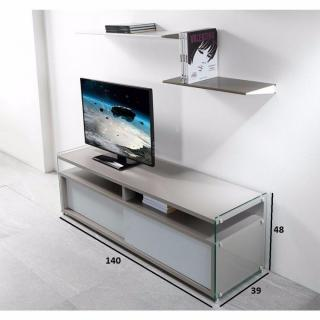 Meuble TV TALAC gris mat 2 portes coulissantes blanc mat