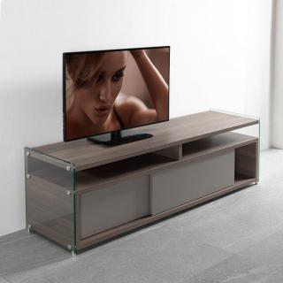 Meuble TV TALAC 180 cm coloris noyer avec 2 portes coulissantes taupe