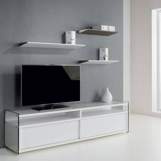 Meuble TV TALAC 2 portes coulissantes blanc mat