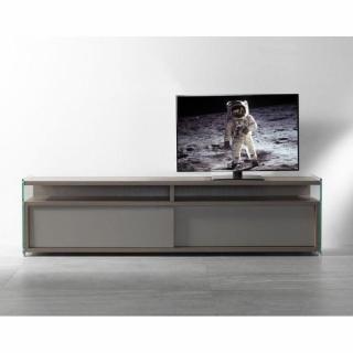 Meuble TV TALAC noyer 2 portes coulissantes grises. grand modèle