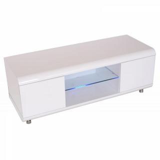 Meuble TV design laqué blanc.