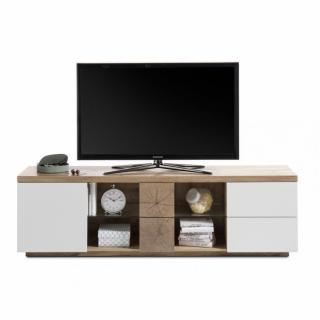 Meuble TV HERNING 180 cm laqué blanc mat et décor chêne 1 porte 2 tiroirs