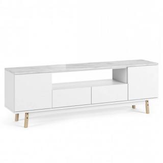 meuble TV LYON plateau marbre blanc pied chêne
