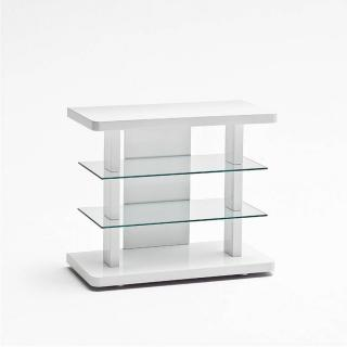 Meuble TV design TOWER laqué blanc brillant compact