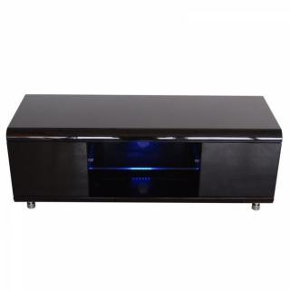 Meuble TV design laqué noir.
