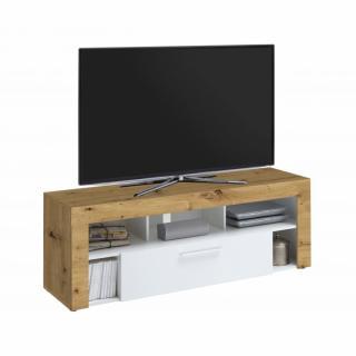 Meuble TV VALEE chêne artisan et blanc 1 tiroir 1 plateau