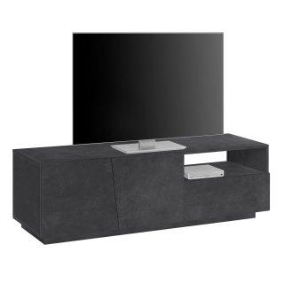 Meuble TV design VEGA 150 cm Finition bois gris ardoise 2 portes 1 tiroir 1 niche